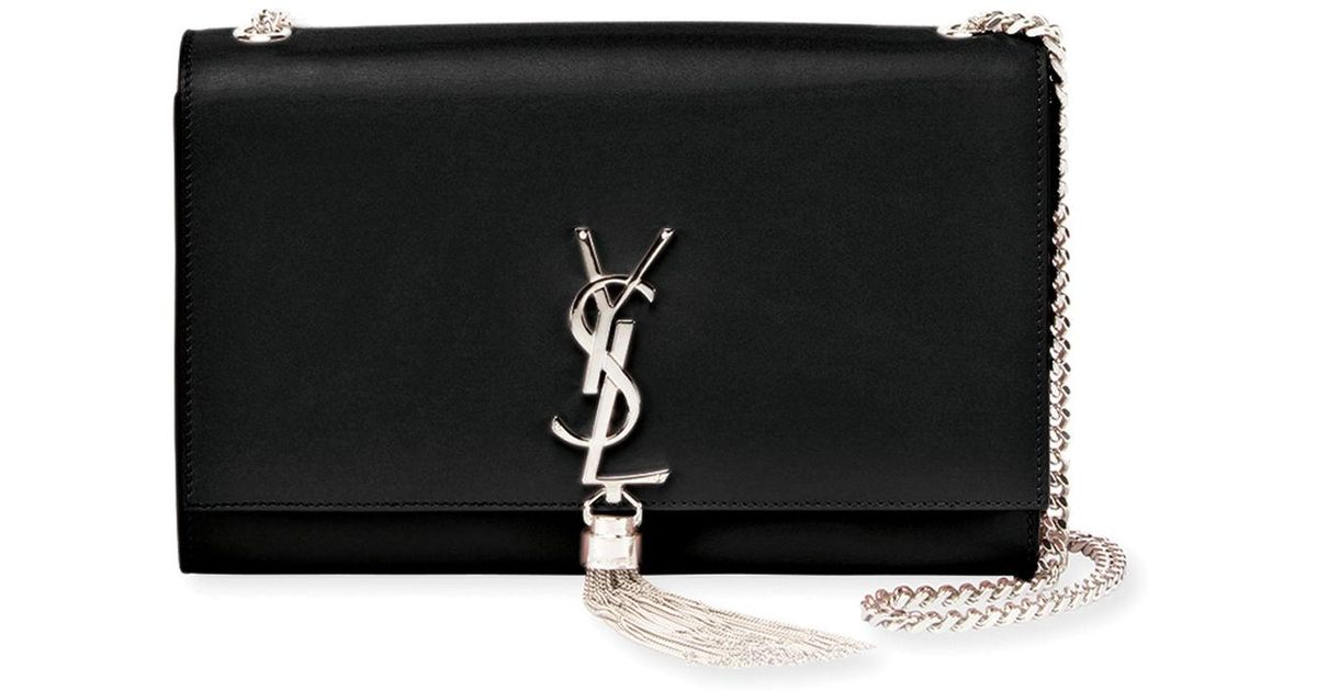 5d509243db Lyst - Saint Laurent Kate Monogram Ysl Medium Chain Tassel Shoulder Bag in  Black