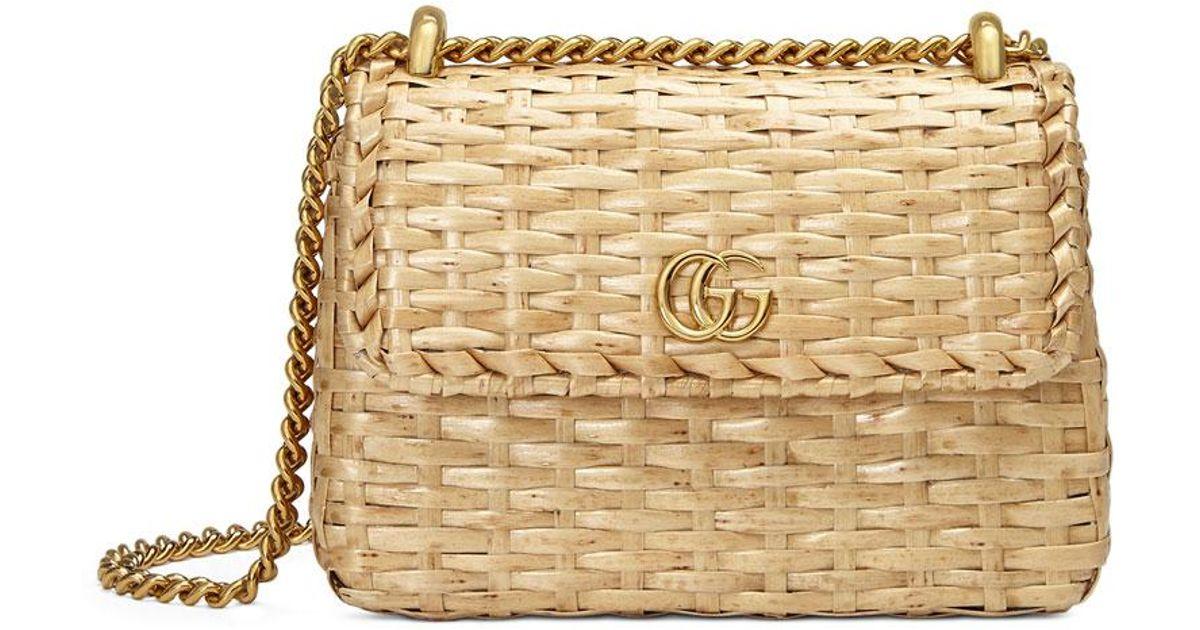 6bfb06264e4432 Gucci Linea Cestino Mini Natural Straw Shoulder Bag in Natural - Lyst