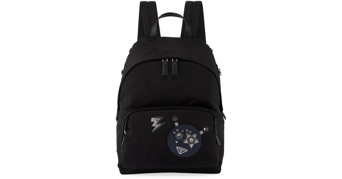 7083c652bdf0 ... discount lyst prada mens nylon robot backpack in black for men 6a586  bda14
