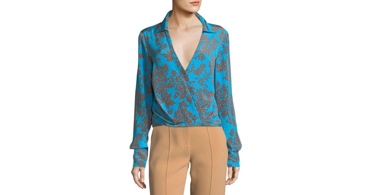 565729827f6881 Lyst - Diane Von Furstenberg Long-sleeve Collared Crossover Silk Blouse in  Blue