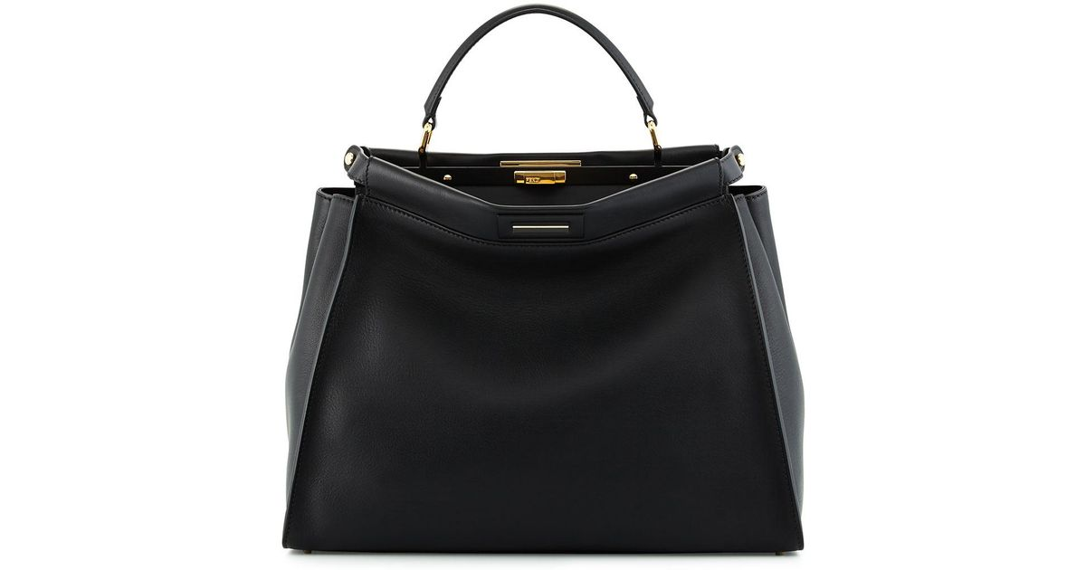 ee42890801f2 Lyst - Fendi Selleria Peekaboo Large Leather Satchel Bag in Black