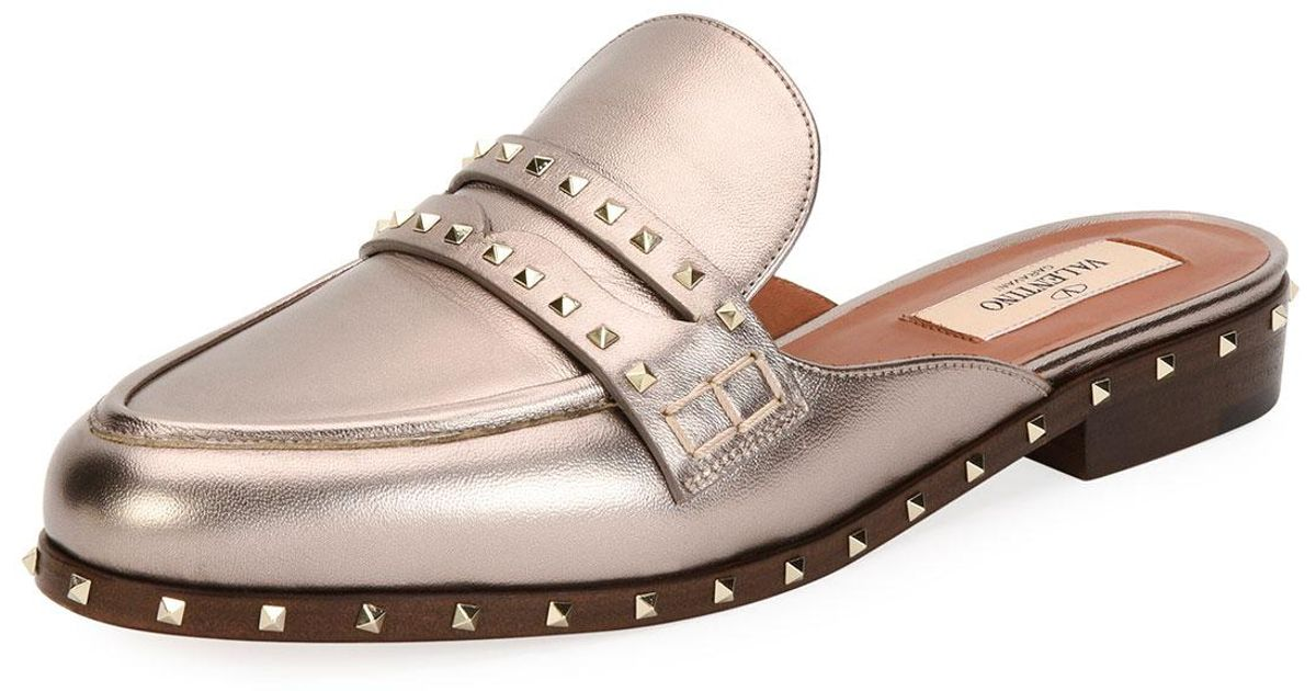 best website lowest price top brands Valentino Soul Rockstud Metallic Flat Mule Loafer - Lyst