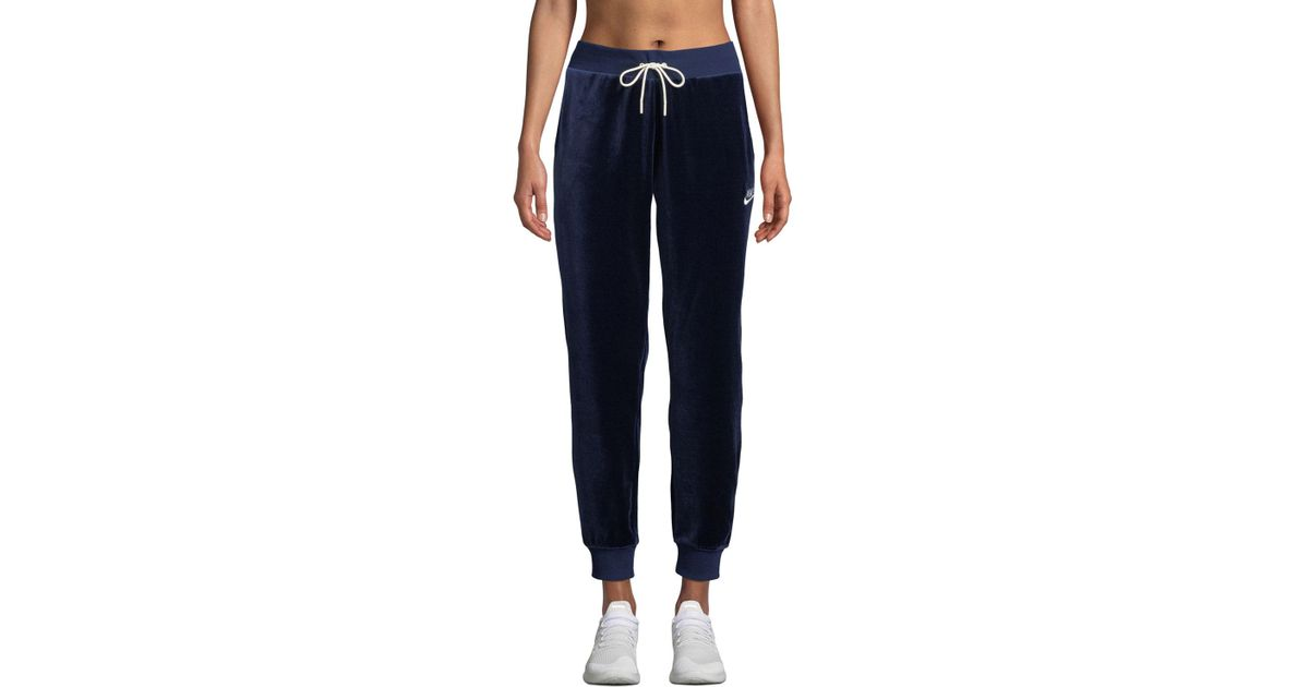 d6681716851a8 Nike Velour Drawstring Track Pants in Blue - Lyst