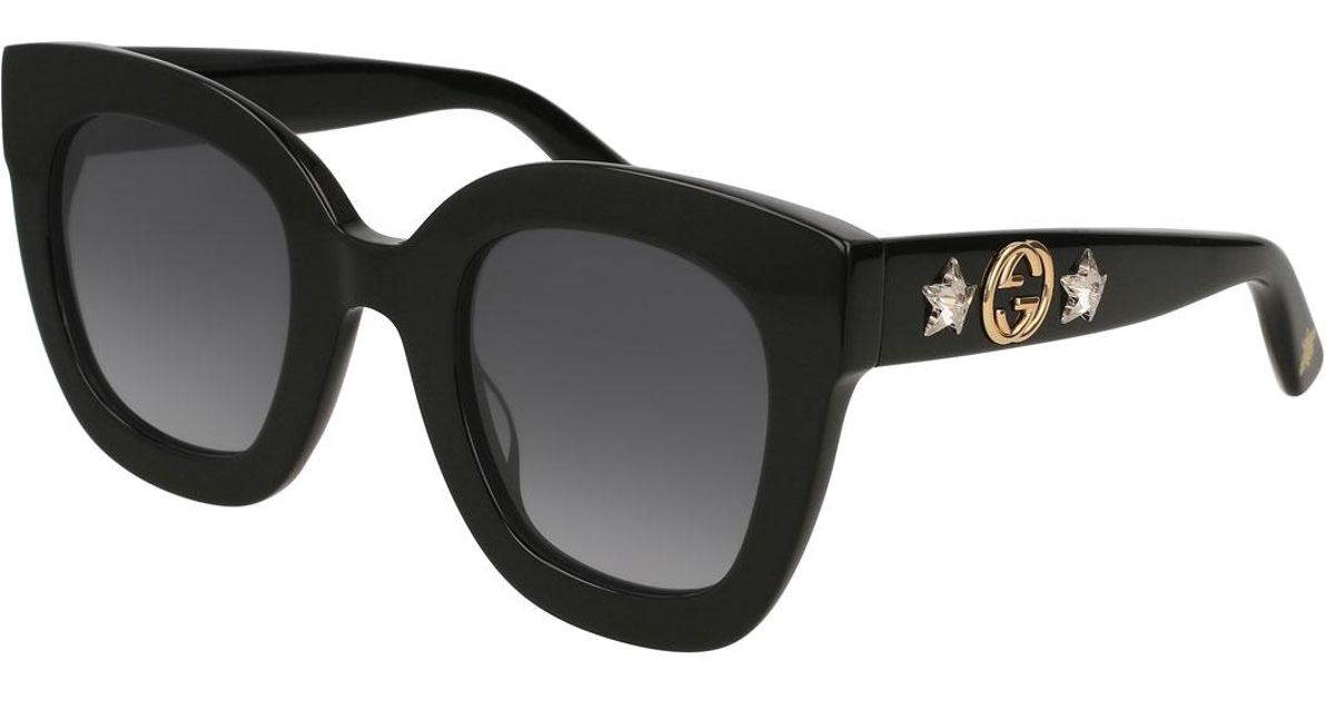 8a909029b32 Lyst - Gucci Rectangle Acetate GG Sunglasses W  Crystal Stars in Black