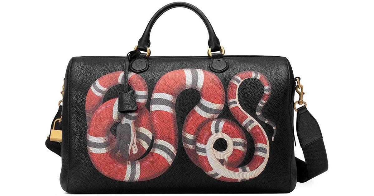 d58ebb11ca2 Gucci Men's King Snake-print Duffel Bag in Black for Men - Lyst