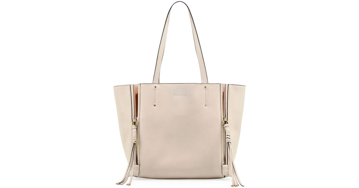 d7f0cd382 Chloé Milo Medium Leather & Suede Tote Bag in White - Lyst