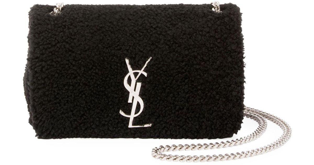 78742b52d4 Lyst - Saint Laurent Kate Monogram Small Shearling Crossbody Bag in Black