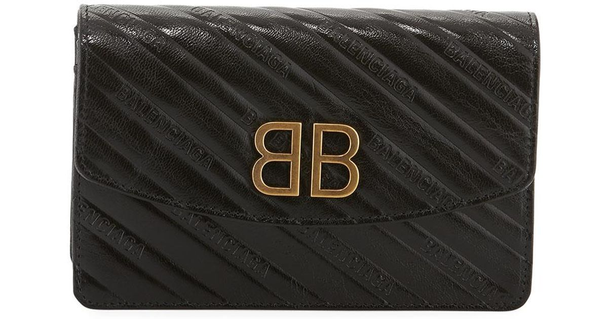 7309c5e5acd Balenciaga Bb Logo-embossed Grain Leather Wallet On Chain in Black - Save  4% - Lyst