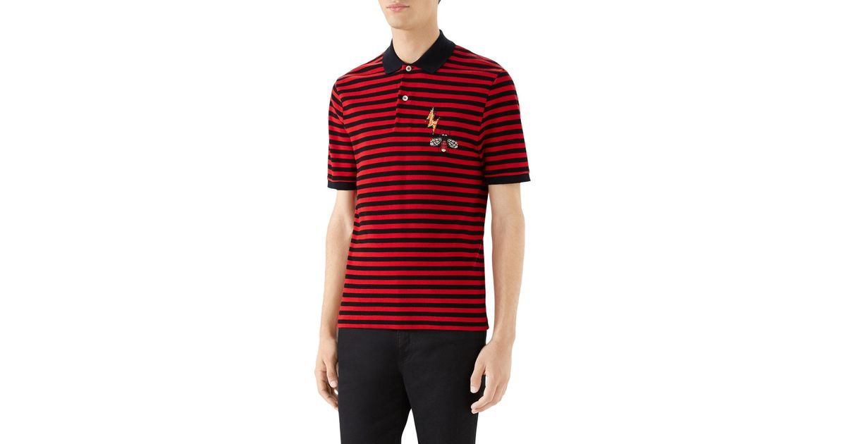 02ebb35e4 Lyst - Gucci Bug & Lightning-bolt Cotton Polo Shirt in Red for Men
