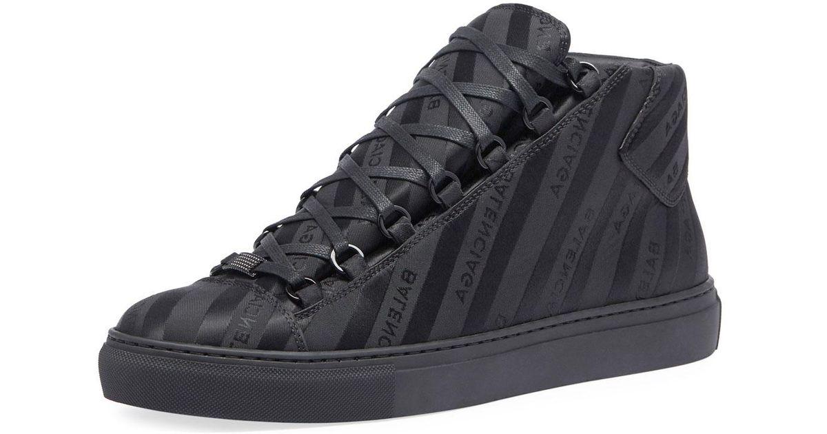 aefaf20a1d19c balenciaga arena mid black. Lyst - Balenciaga Men u0027s Arena Striped Leather  Mid-top Sneaker ...
