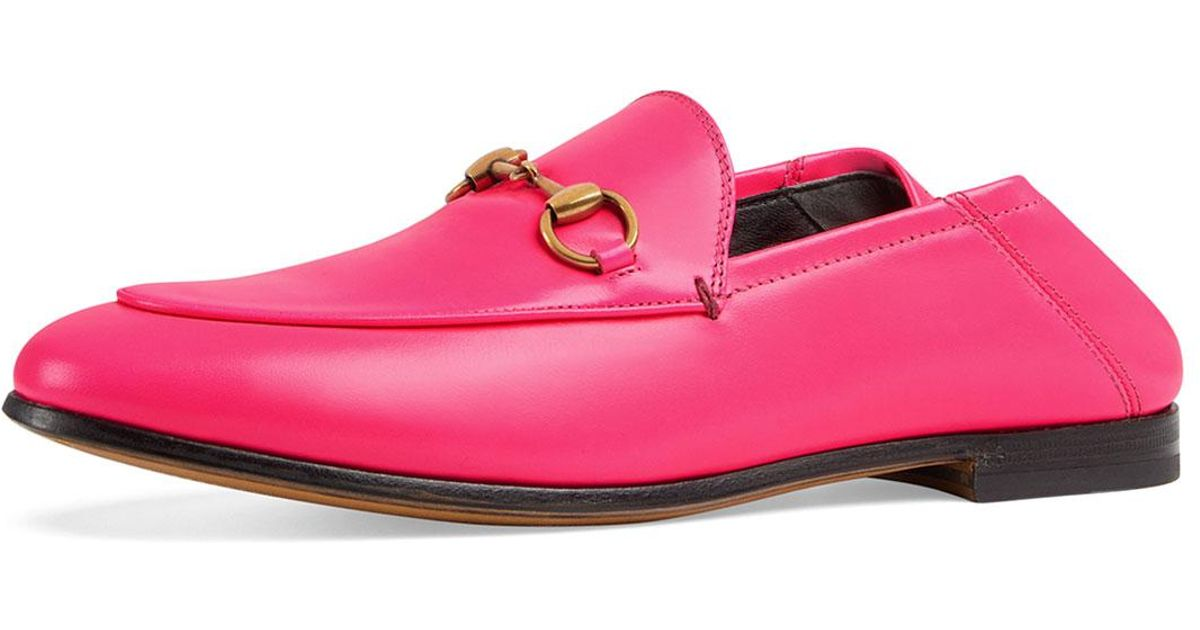 17d845ad2 Gucci Brixton Neon Leather Horsebit Loafers in Pink - Lyst