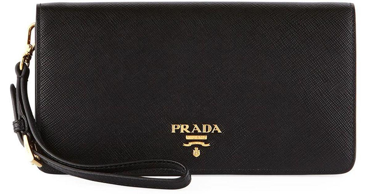 2f84d3505d98 Prada Saffiano Flap Phone Wristlet Wallet W/ Crossbody Strap in Black - Lyst