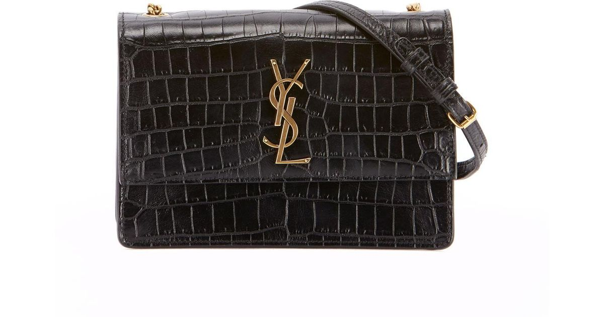 Lyst - Saint Laurent Monogram Ysl Sunset Small Chain Croco Shoulder Bag in  Black dffc597cd973c