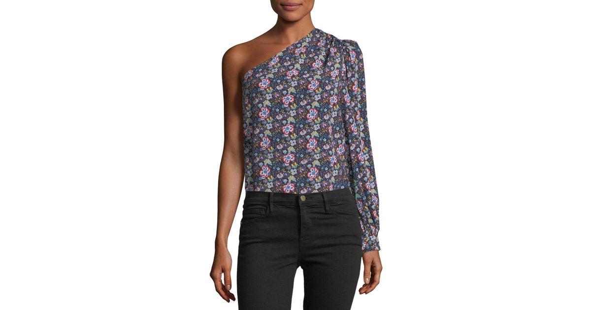 efa8b4effc9b26 Lyst - FRAME Floral One-shoulder Top in Blue - Save 76%