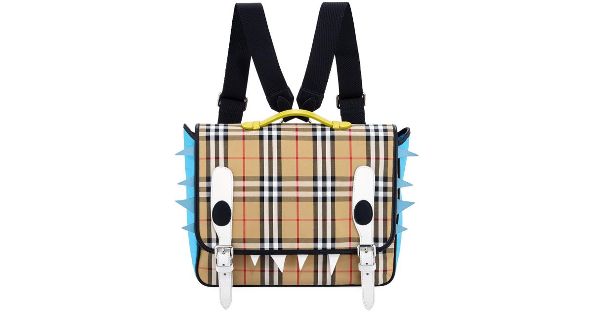 Lyst Burberry Kids Spike Canvas Check Backpack In Natural