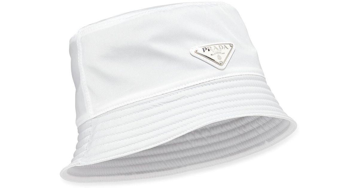 8d183b85 Prada Men's Nylon Bucket Hat With Logo in White for Men - Lyst