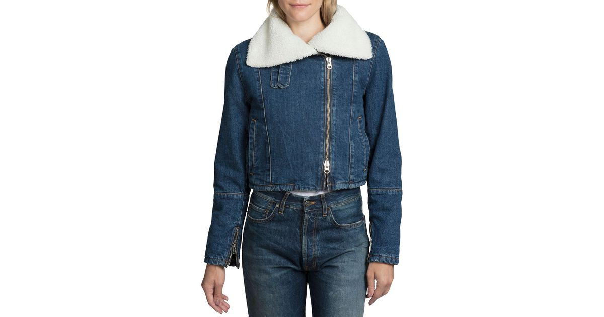 084bbd919c Lyst - PRPS Asymmetrical Cropped Sherpa Denim Moto Jacket in Blue