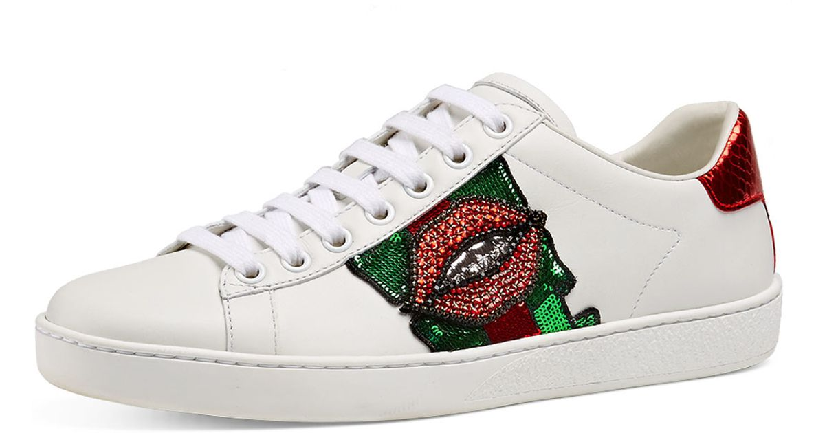224386a22c3f Lyst - Gucci New Ace Lips Low-top Sneaker
