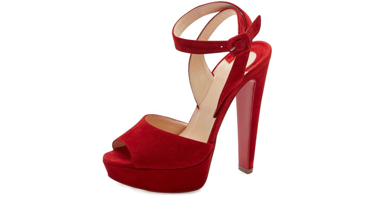 155758bd8c62 Lyst - Christian Louboutin Louloudancing Platform Red Sole Sandal in Red
