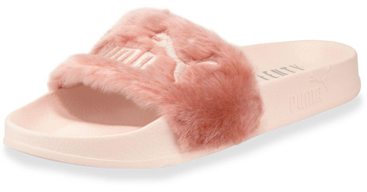 69256e220 Lyst - PUMA Leadcat Fenty Faux-fur Slide Sandal in Pink