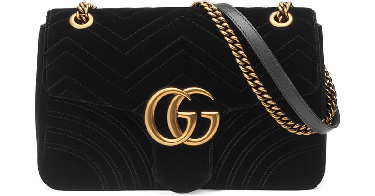 c6c1df112 Gucci Gg Marmont 2.0 Medium Suede Shoulder Bag in Black - Lyst