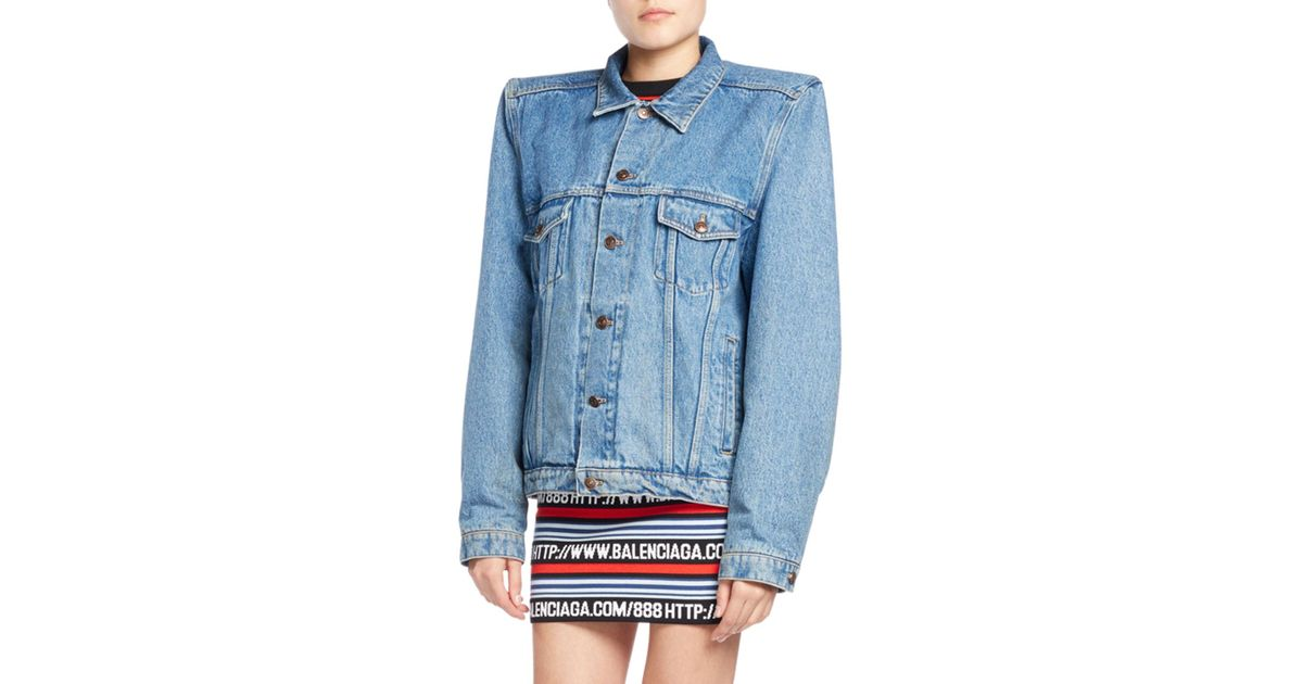 Women's Blue Boxy Denim Jacket With Shoulder Pads