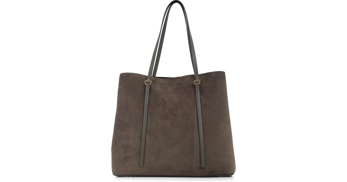 8e2304c1f3617 Lyst - Polo Ralph Lauren Borsa Shopping Due Manici Suede in Brown