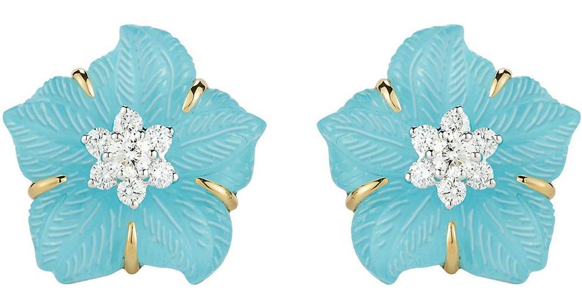 Lyst Seaman Schepps Rock Crystal Turquoise Diamond Clematis Flower Earrings In Blue