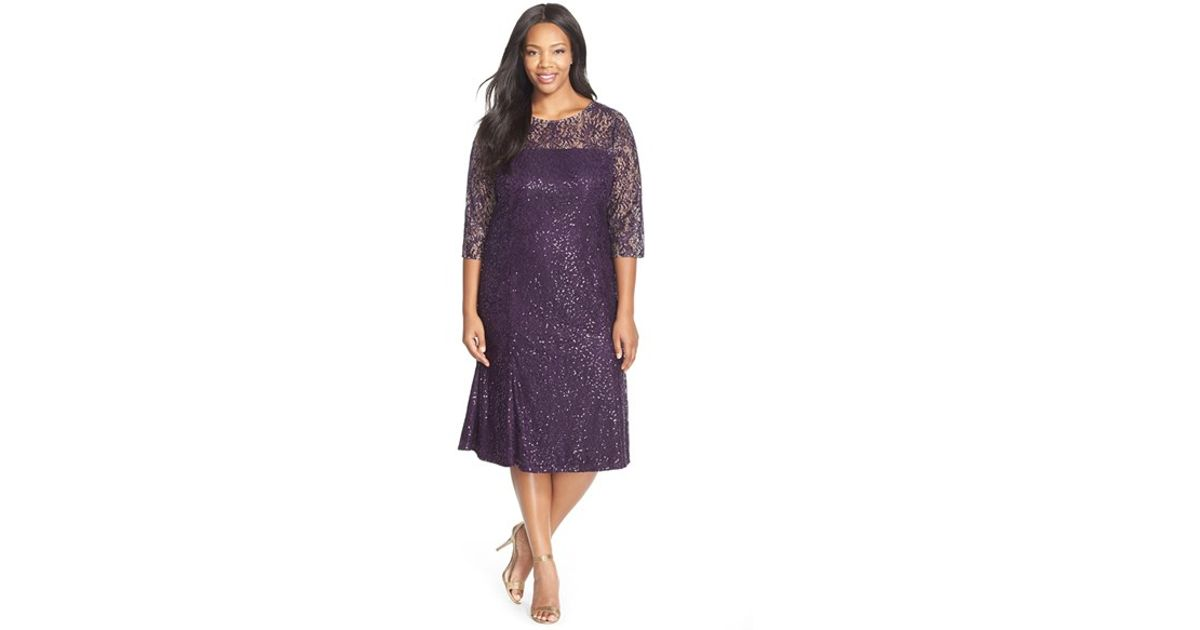 a13f2b71b2e Lyst - Alex Evenings Sequin Lace Tea Length Dress With Illusion Yoke    Sleeves in Purple