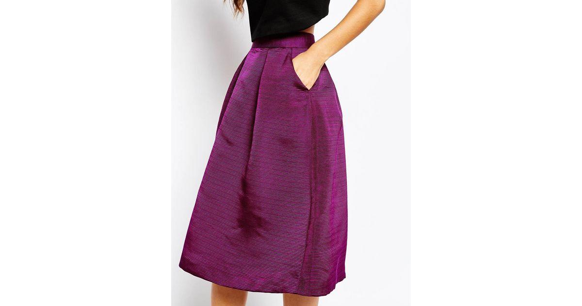 51feda569 Ted Baker Zelida High Waisted Midi Skirt in Purple - Lyst