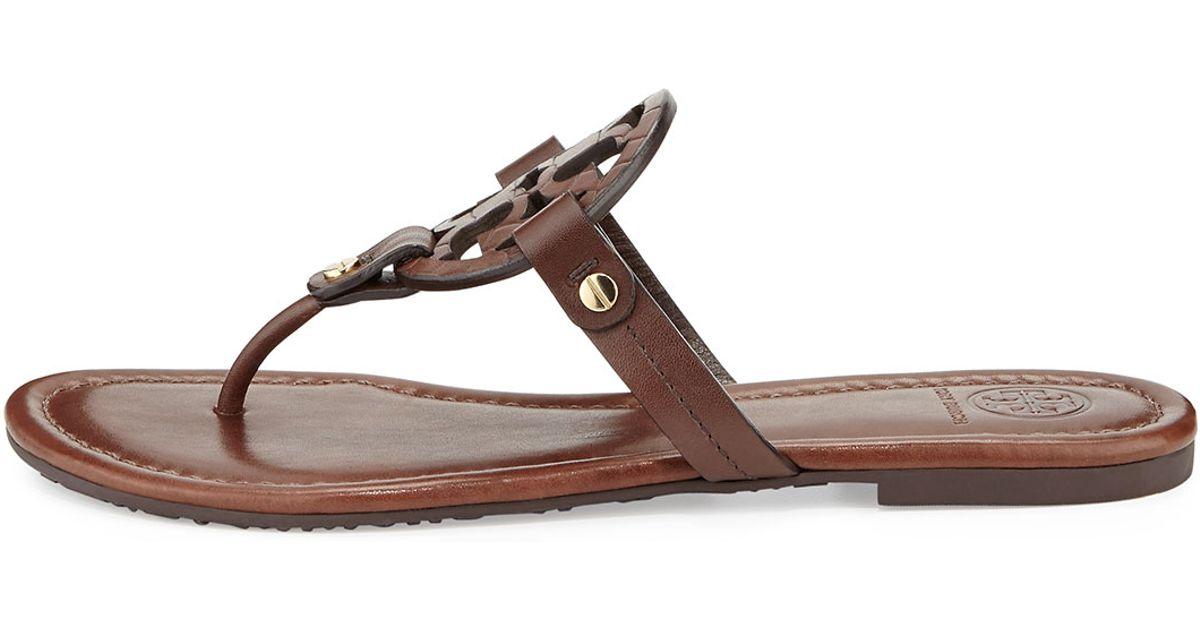 a29c84f92 Lyst - Tory Burch Miller Logo Flat Sandal in Brown