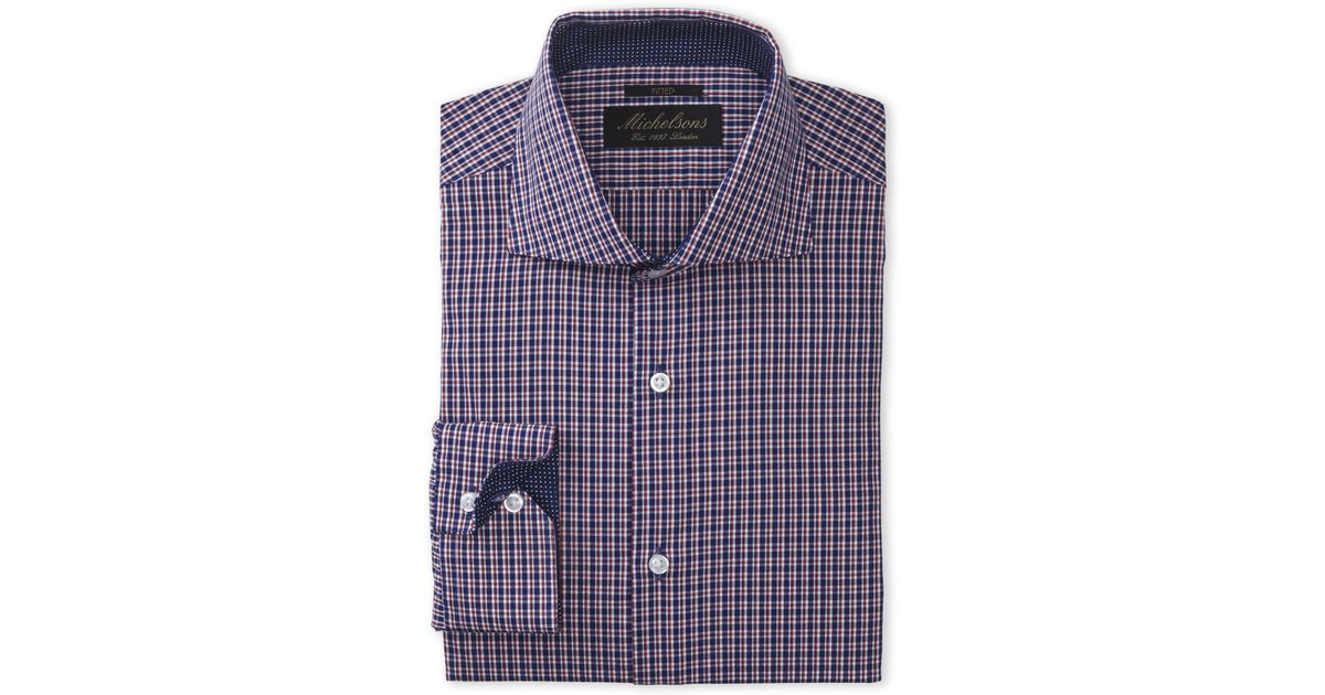 Michelsons Of London Red Navy Plaid Fitted Dress Shirt
