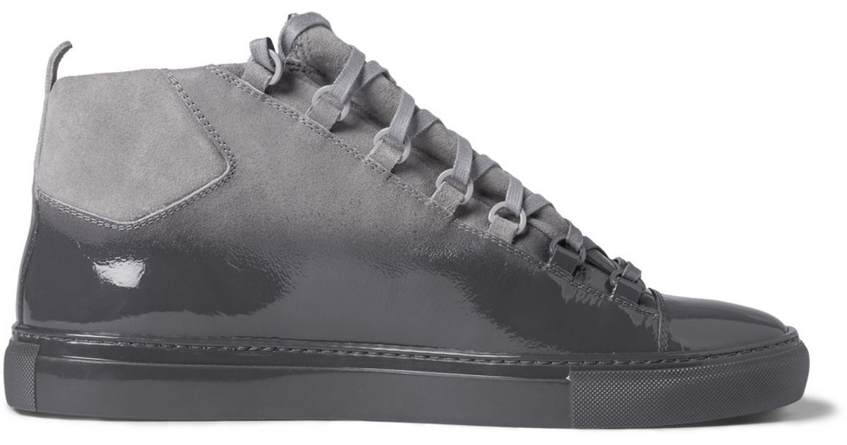 Balenciaga Arena Glossed-Suede High Top Sneakers in Gray for Men - Lyst 5bc799bb7