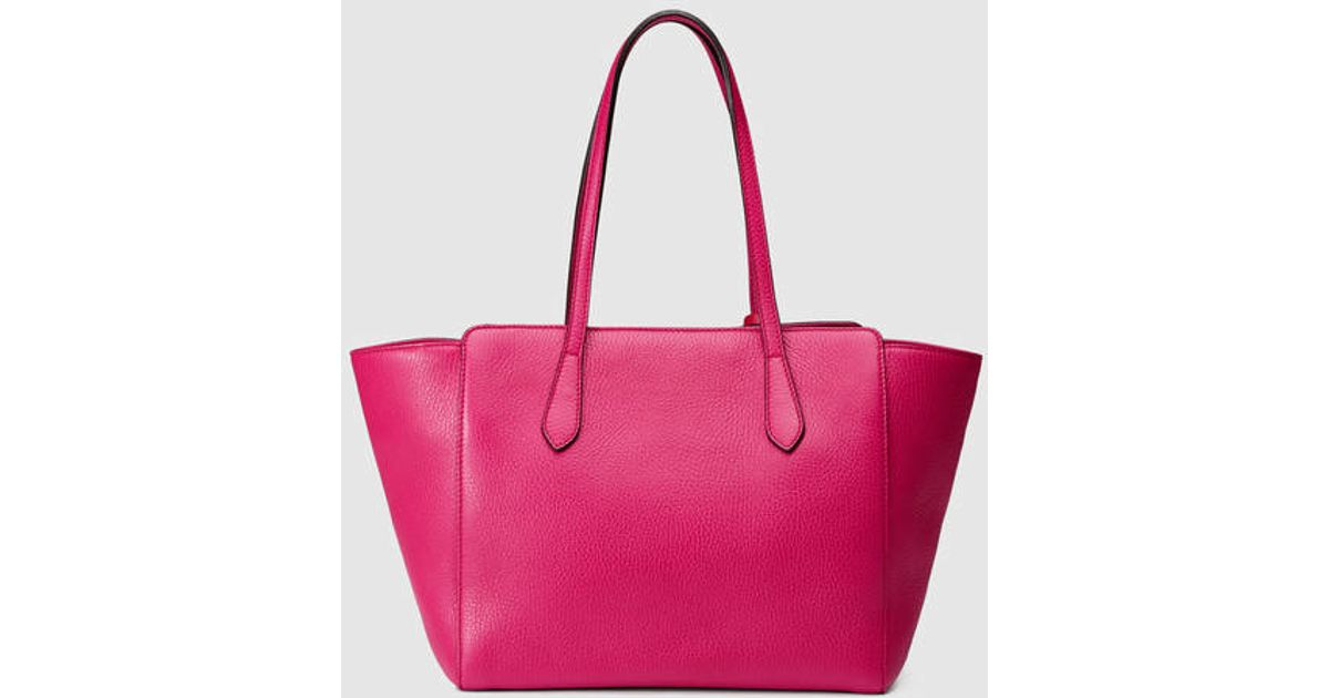 039bdad2e4a00 Lyst - Gucci Swing Small Leather Tote in Pink