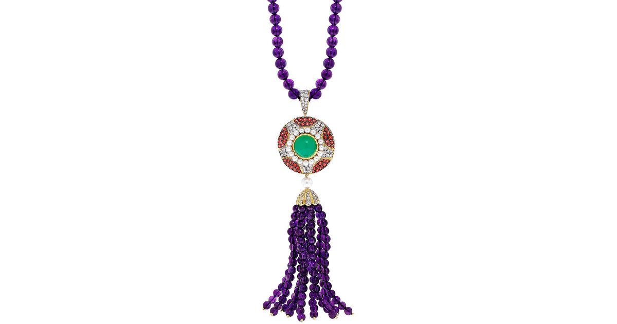 Lyst abellan new york a one of a kind art deco inspired diamond lyst abellan new york a one of a kind art deco inspired diamond chrysoprase and amethyst tassel pendant necklace in purple audiocablefo