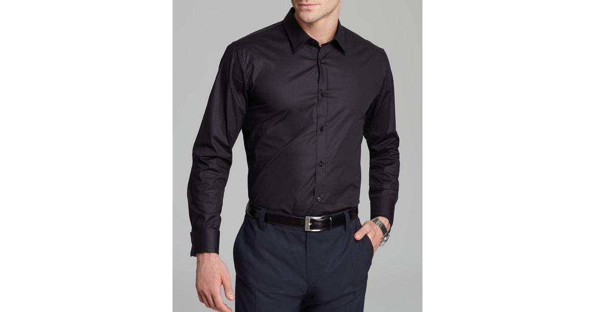 87582189b HUGO Elisha Button Down Shirt - Slim Fit in Black for Men - Lyst