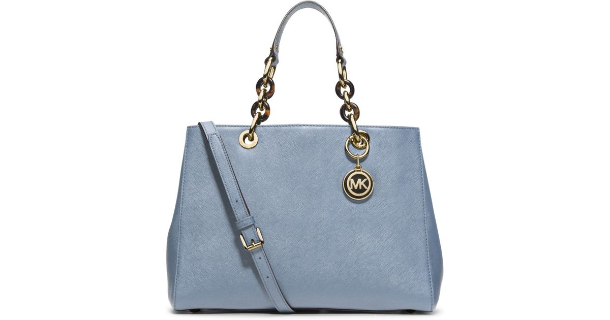 c60234555f84 france lyst michael kors cynthia medium leather satchel in blue 1e62d 59064