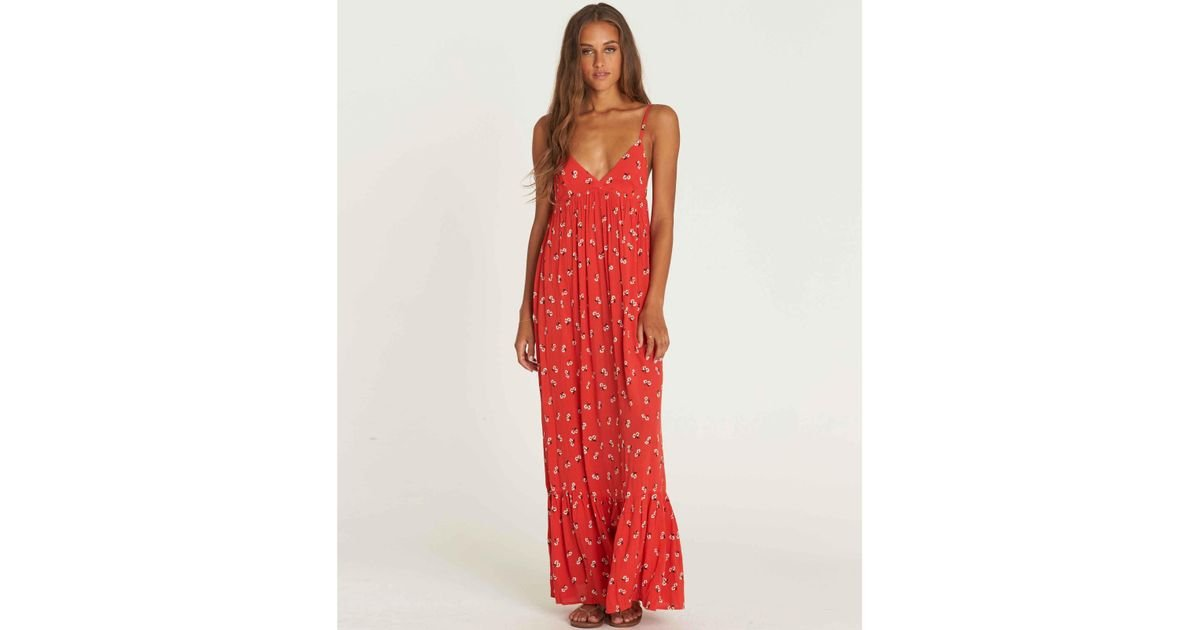 102ab92d9d5 Lyst - Billabong Flamed Out Print Maxi Dress in Red