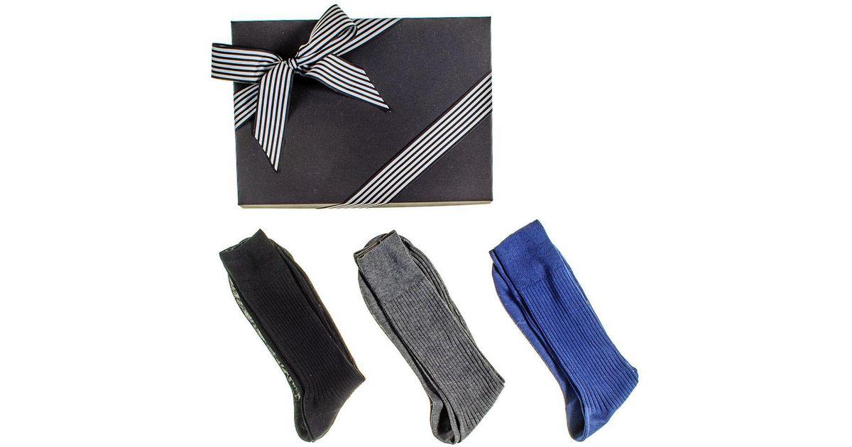 21e24c9bd Lyst - Black.co.uk Black Grey And Navy Egyptian Cotton Lisle Socks Gift Set  in Blue for Men