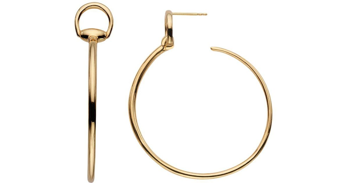 78f56586b2f Lyst - Gucci 18k Yellow Gold Horsebit Hoop Earrings in Metallic