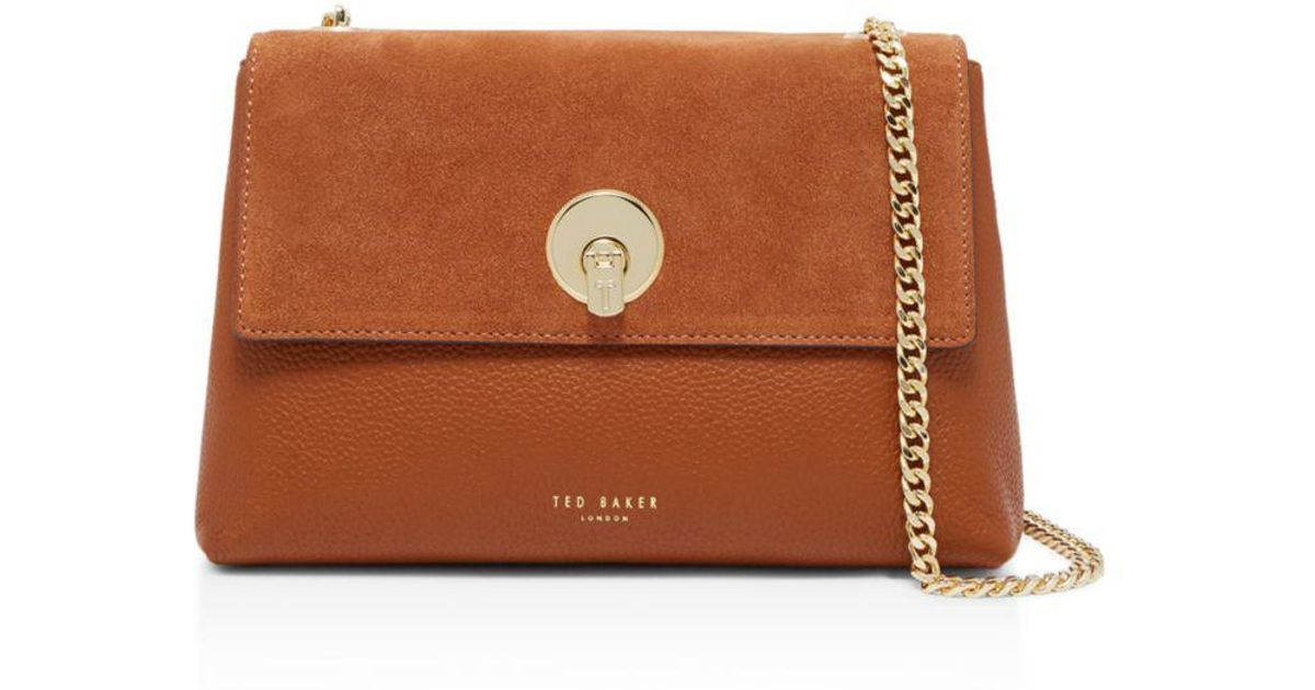 9689969cb2a Ted Baker Sorikai Circle Lock Suede And Leather Crossbody in Brown - Lyst