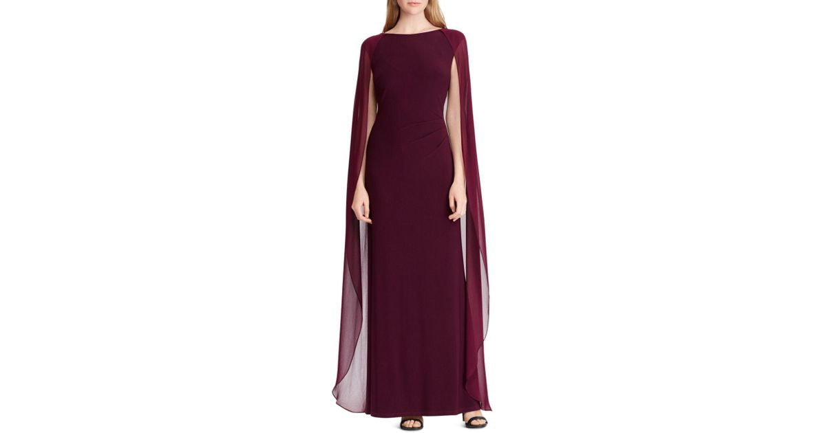 e50fcb5d474c Lyst - Ralph Lauren Lauren Cape-overlay Gown in Purple