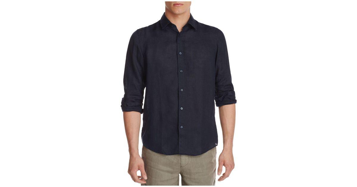 1444a5d1 Boss Lukas Linen Regular Fit Button-down Shirt in Blue for Men - Lyst
