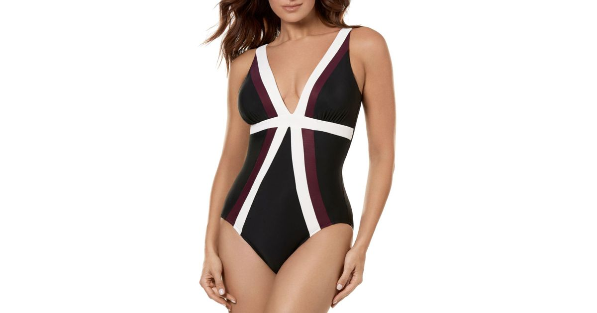 25b35acbec Miraclesuit Spectra Trilogy One Piece Swimsuit in Black - Save 6% - Lyst