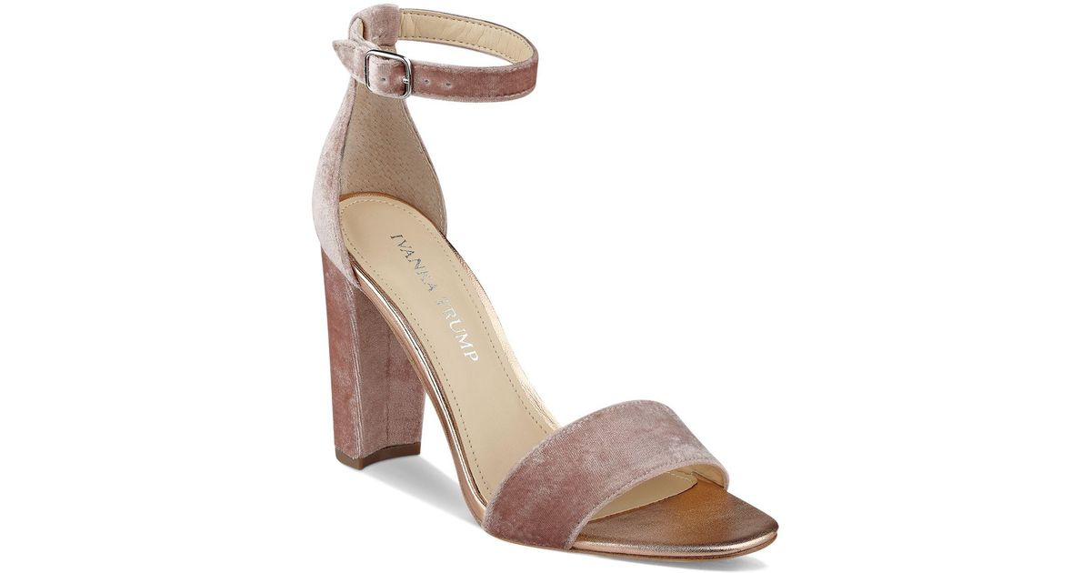 3735dc3c6fb3 Lyst - Ivanka Trump Emalyn Velvet Ankle Strap Block Heel Sandals in Pink