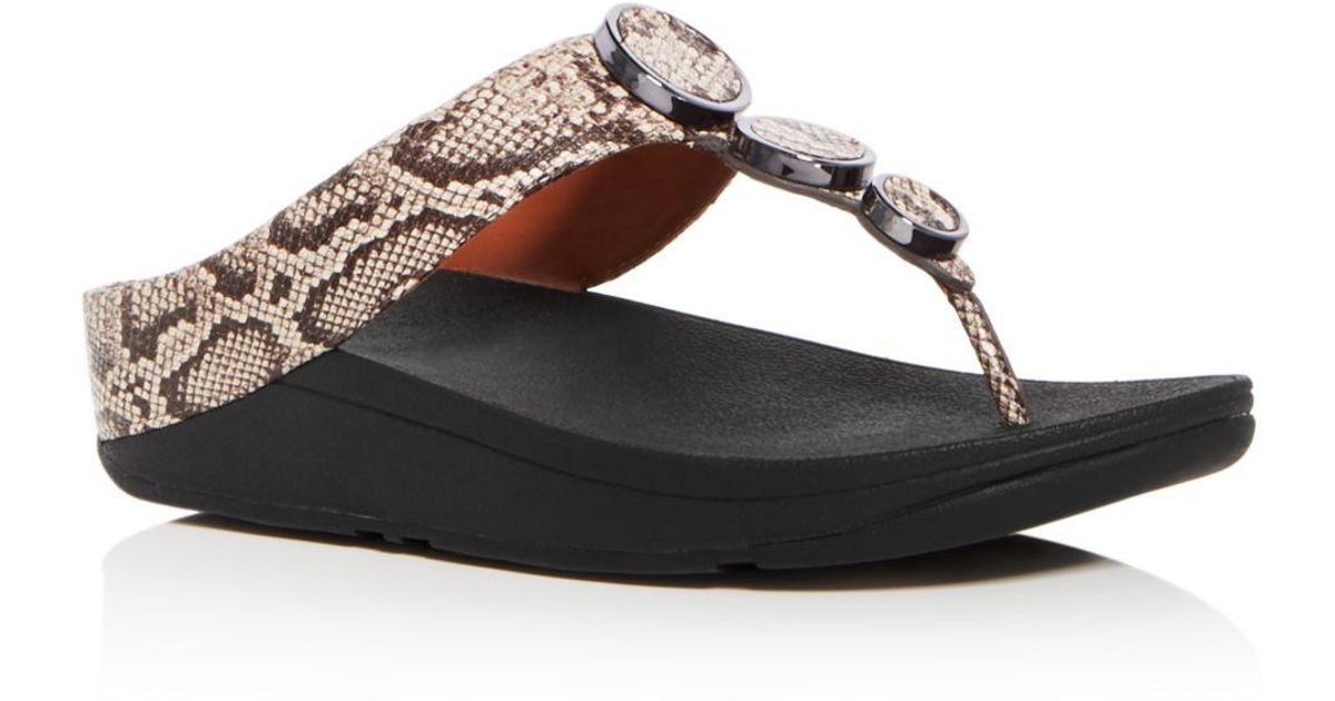 17e698d36d1 Lyst - Fitflop Women s Halo Embellished Snake Embossed Leather Platform  Thong Sandals in Brown