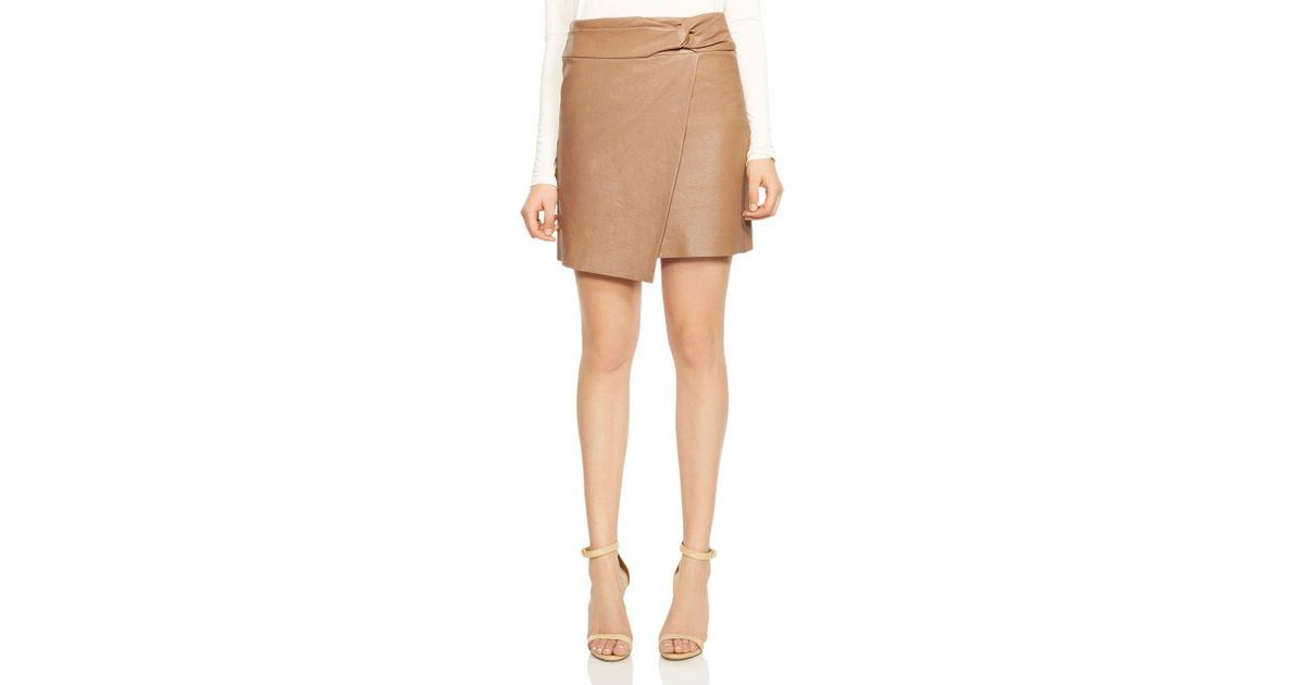 52cdabc9cc2 Lyst - Halston Twist-detail Crossover Leather Skirt in Natural