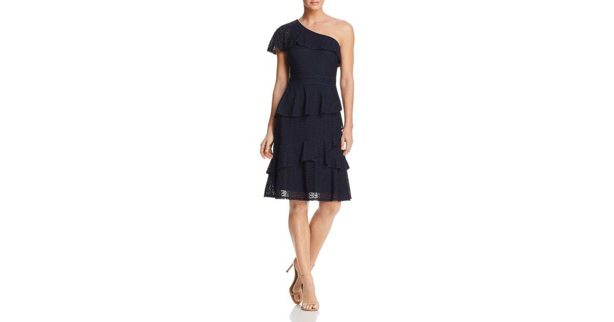 5c0f36d65da7 Lyst - Adelyn Rae Trixie One-shoulder Lace Dress in Blue