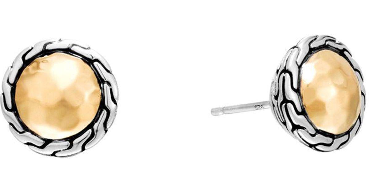 2ccd4d3bd Lyst - John Hardy Classic Chain Gold & Silver Round Stud Earrings in  Metallic