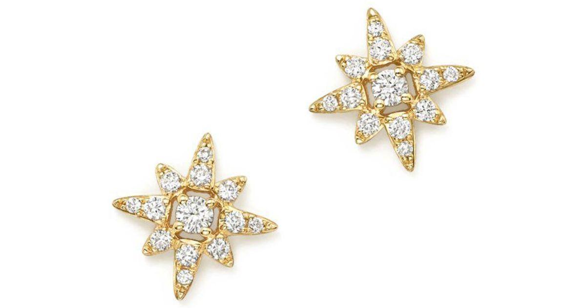 fc388a4ffef611 Kc Designs 14k Yellow Gold Small Starburst Diamond Stud Earrings In